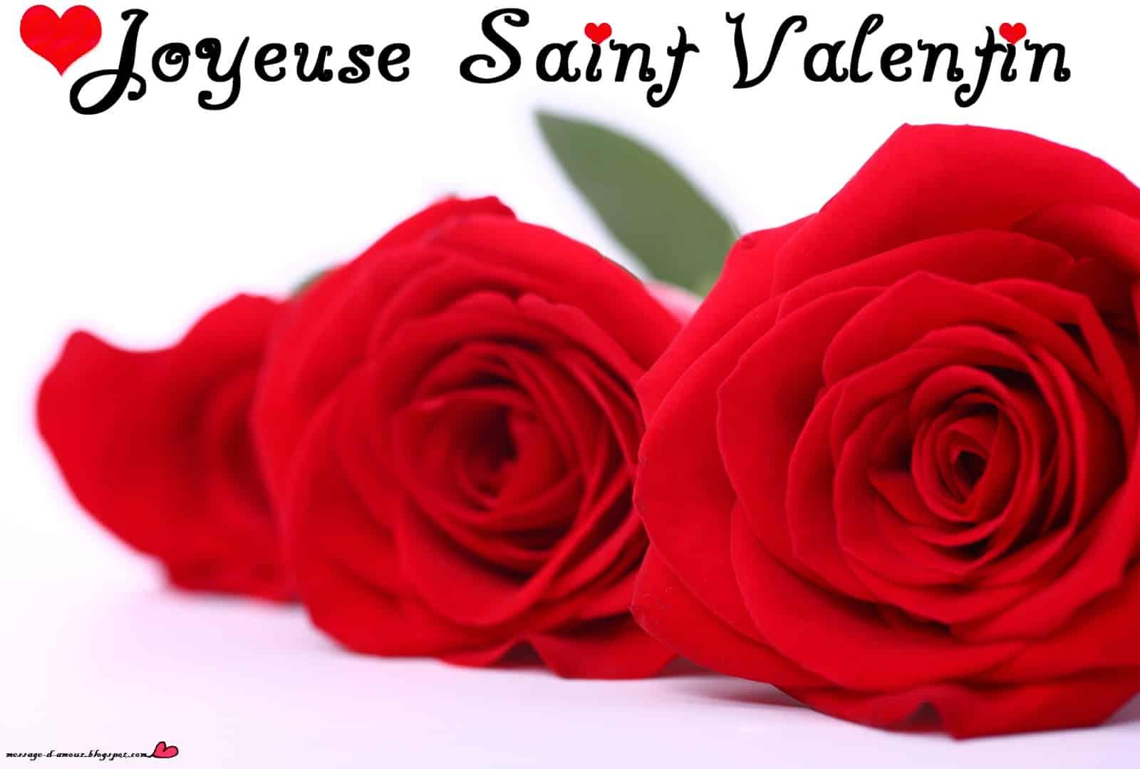 Carte joyeuse Saint Valentin trois roses