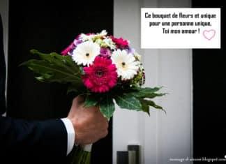 Message d'amour pour bouquet de fleurs