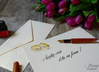 Lettre de demande en mariage amour