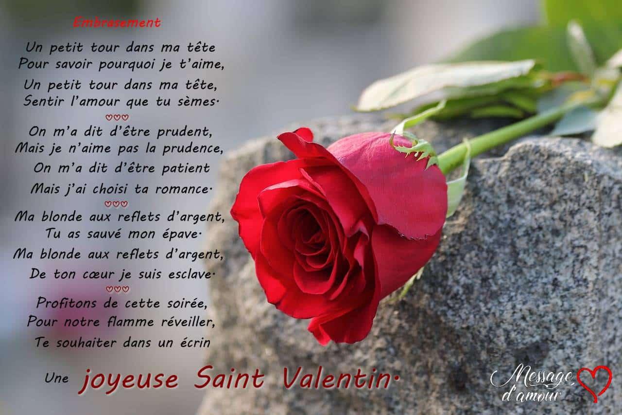 Poèmes Romantiques Pour La Saint Valentin Message Damour
