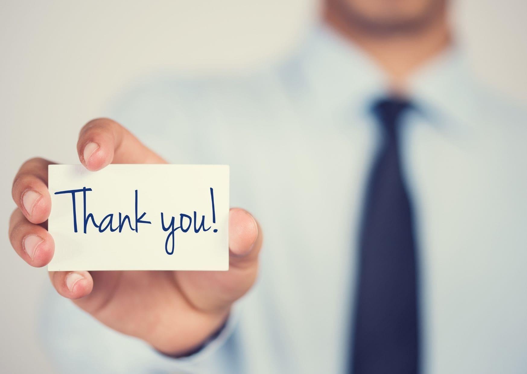 Message de remerciement professionnel