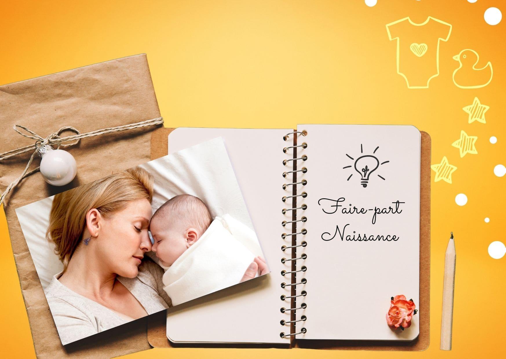 Carte faire-part de naissance blanc et lilas avec photo de bébé