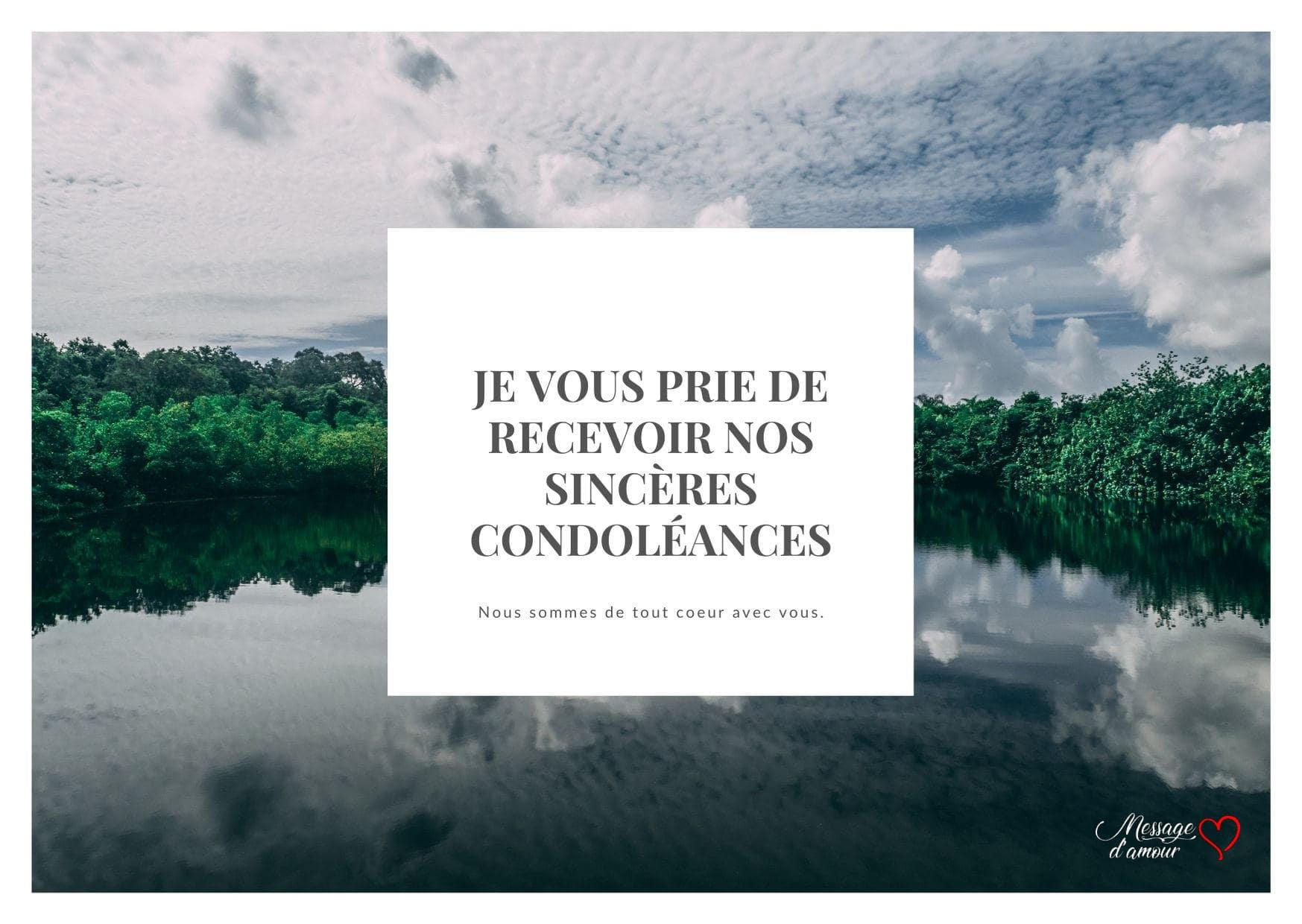 Carte condoléances photo de paysage avec cadre blanc